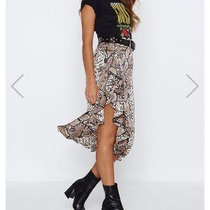 Nasty Gal Snake Skin Midi Skirt
